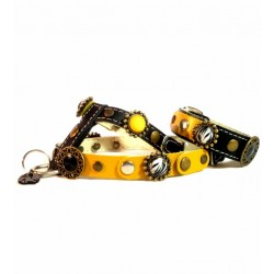 Luxury yellow and Black Leather Harness with matching Bracelet