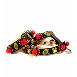 Black Leather Harness & Bracelet with beautiful Red Roses and sweet Green leaves