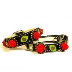 Black Leather Cat Collar & Bracelet with beautiful Red Roses and sweet Green leaves