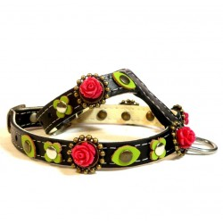 Black Leather Harness with beautiful Red Roses and sweet Green leaves
