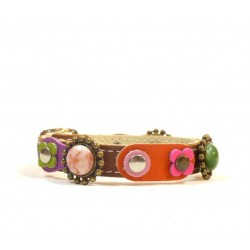 Vintage Style Leather Bracelet with Beautiful Flowers Leather Hearts and Pink Roses